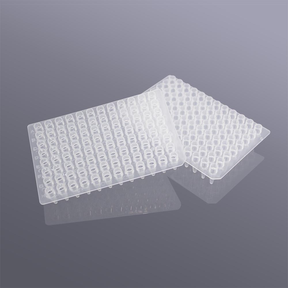 96孔无裙边透明高位PCR板